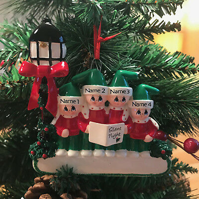 Christmas Carol Singers Ornaments.Hand Personalised Christmas Tree Ornament Family Of 4 Carol Singers Gas Lamp Ebay