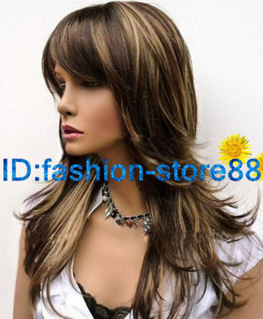 Beautiful Straight Mixed Color Synthetic Natural Hair Wigs + wig cap