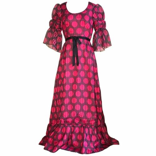 Sarmi VTG 1960s Pink Brown Polkadot Stripe Dress w