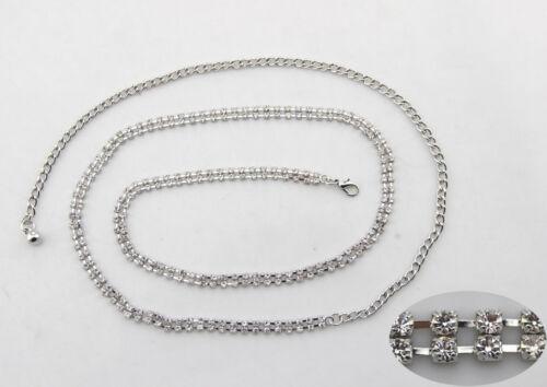 Diamante Diamond Belt Ladies Waist Chain Charm in Silver Fashion Womens 2 Row