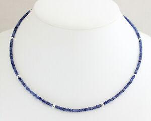 Saphir-Kette-edelsteinkette-Facettierte-Blau-925-Silber-Steinkette-Collier-45-cm