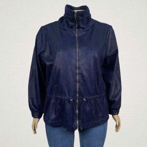 Ruby Rd. Faux Snake Skin Print Microfiber Zip Up Jacket 24W PLUS Navy Blue