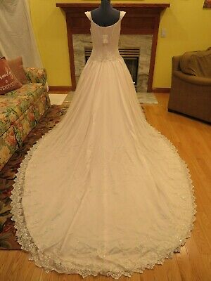 nwt moonlight pink floral lace wedding dress embellished