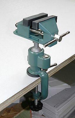 """Work Bench Vise Swivel 3"""" Tabletop Clamp Vice Tilts Rotates 360° Universal Hobby"""