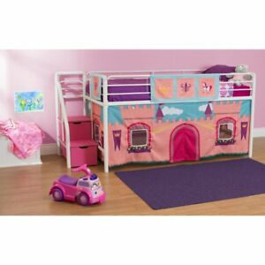 Girls Kids Pink Princess Castle Bunk Bed Loft W Steps Stairs