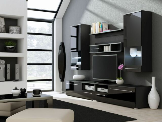 "TV Stand/ TV Wall Unit/ LIVING ROOM FURNITURE ""BLACK  GLOSS COLLECTION """