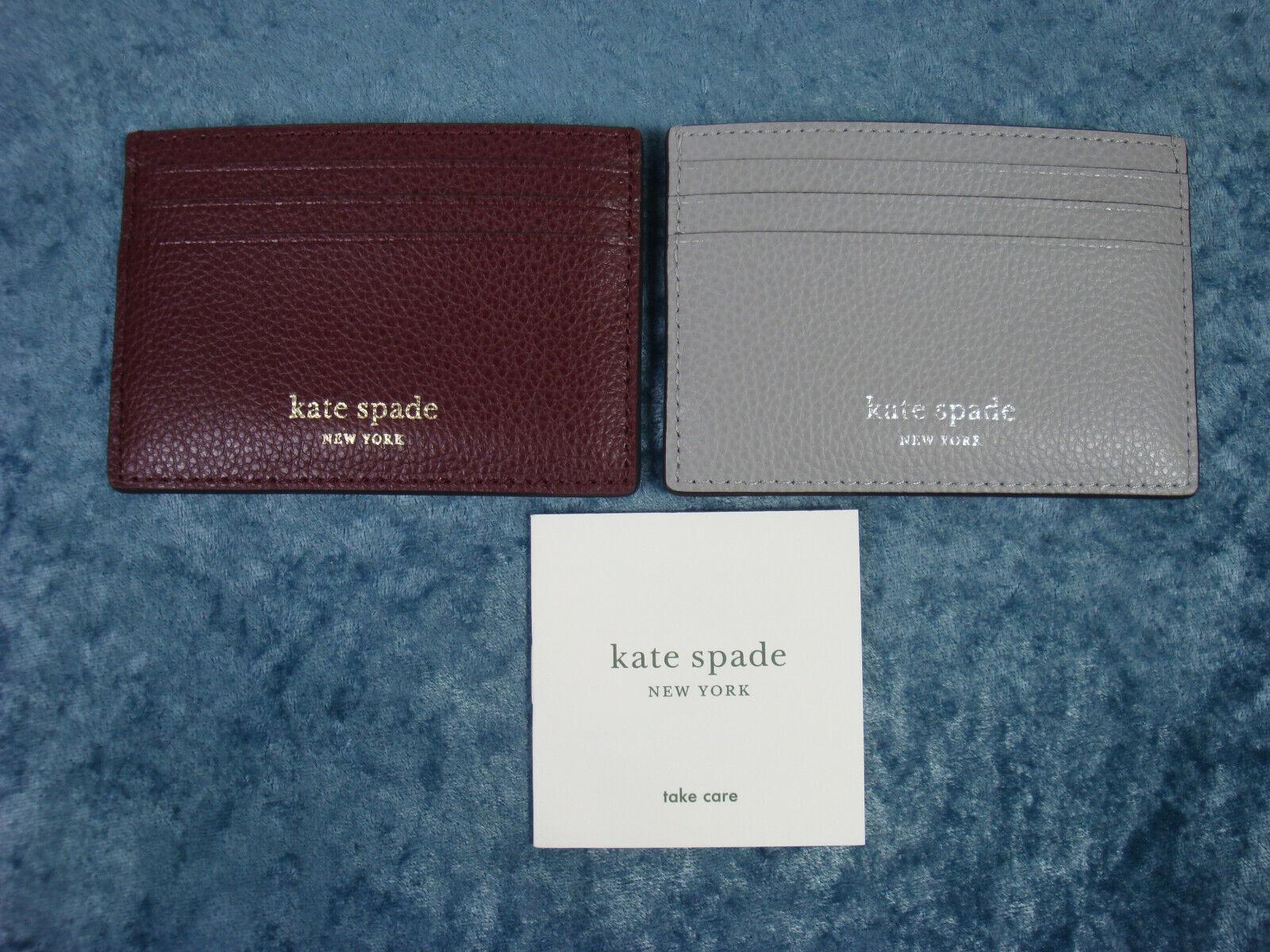 Kate Spade Eva Small Slim Card Holder WLRU6277~Cherrywood or Grey~NWT!!!