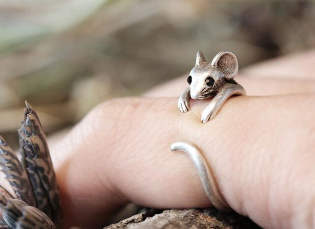 Animal Mouse Ring Retro Burnished Rat Ring Adjustable Wrap Free Size w Gift Box