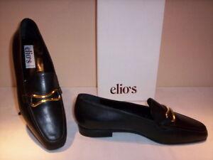 38 Elio's N Zapatos Nuevo Nuevo Cuero Zapatos Moccassini negro Woman clásicos twxqvzg