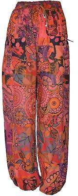 2019 Neuestes Design Free Size Hippie Boho Retro Floral Patchwork Harem Pant Trouser Orange 12 To 16 SchüTtelfrost Und Schmerzen
