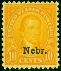 679-10c-Nebr-Overprint-FRESH-Lightly-Hinged
