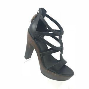 42c5b546e61 Details about UGG Salima Black Leather Platform Heel Strappy Sandal Womens  Shoe SIZE 8.5