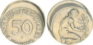 Germany 50 Pfennig (1949) F J.379 20% Dezentriert Without Knurling For Vz