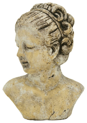 Signora busto testa Crema Natura Marrone Ceramica Shabby Nostalgia Brocante Decorazione