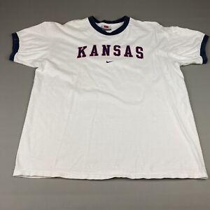 Vintage-90-039-s-Nike-Team-Kansas-Jayhawks-T-Shirt-Ringer-Size-XL-Men-039-s-White