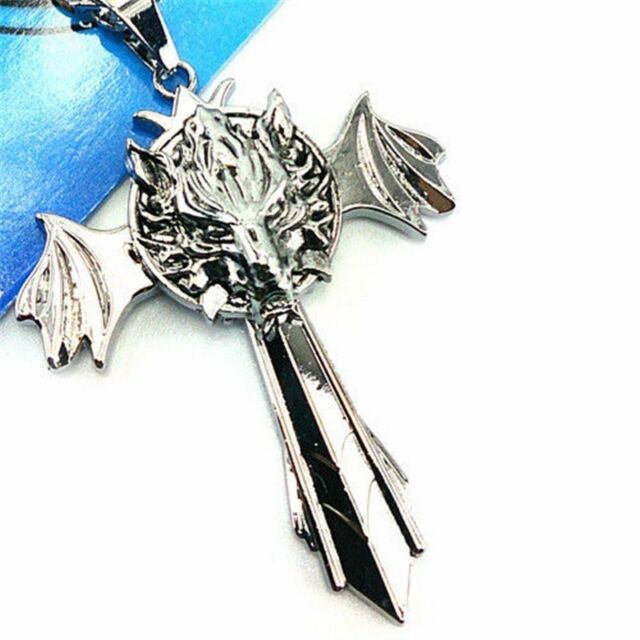 Final Fantasy Cloud Wolf Marks Silver Cross Wing Pendant Necklace