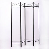 4 Panel Room Divider Privacy Folding Screen Durable Movable Partition White