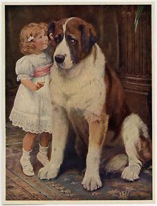 Vintage-Arthur-J-Elsley-Victorian-Art-Print-St-Bernard-Private-amp-Confidential