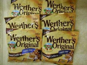 Lot-of-6-Werther-039-s-Sugar-Free-Original-Caramel-Coffee-Hard-Candies-1-46Oz-Bags