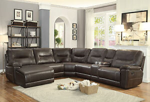BLOOM Sectional Living Room Couch Set - BROWN Faux Leather Reclining ...