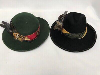2 Chapeaux Capo Collection Folk Feutre Avec Vraie Plumes Autriche Vintage Rafforzare La Vita E I Sinews