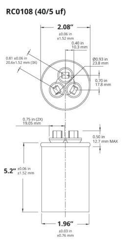 TEMCo 40//5 MFD uF Dual Run Capacitor 370 440 vac Volts 5 LOT AC Motor HVAC 40+5