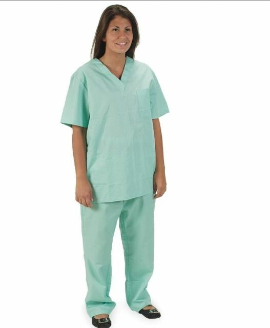 NEW Green M Shirt Short Sleeve Medical Dental Nurse Doctor Scrubs poly/cotton