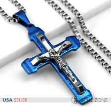 Men's Stainless Steel Jesus Blue Cross Pendant Square Box Link Necklace Cool 11G