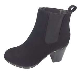Womens-New-Look-Black-High-Heel-Winter-Studded-Shoes-Ankle-Boots-Size-UK-8-New
