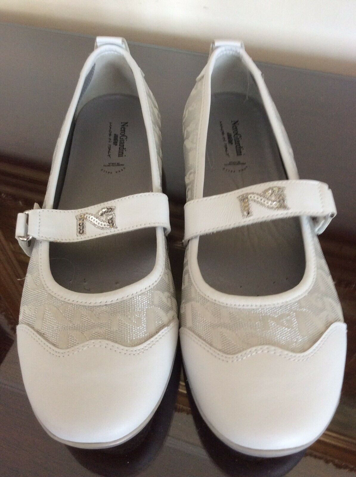 negro Giardini Junior Zapatos Planos Cuero Tela Italia blancoo Plateado Mujer Adolescente
