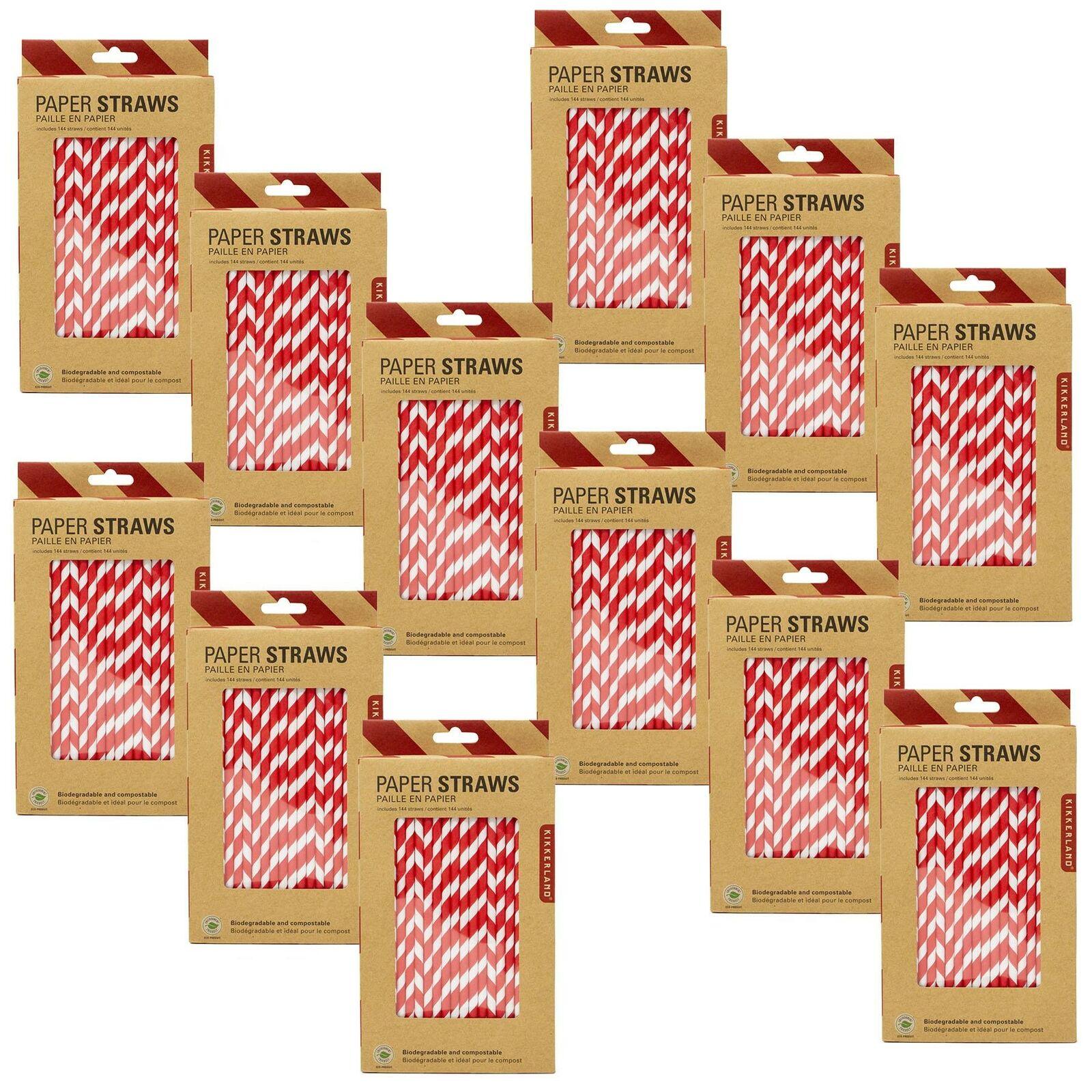 Kikkerland 1728 rot Striped Paper Retro Drinking Straws Biodegradable Bulk Pack