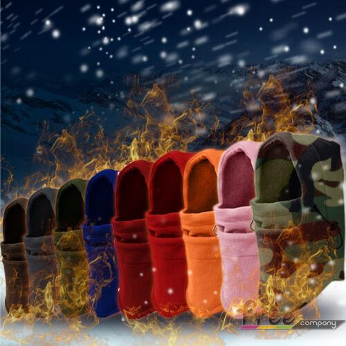Unisex Fleece Hooded Hat Beanie Cap Snood Scarf Warmer Winter Thermal Balaclava