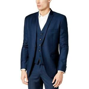 INC Mens Blazer Navy Blue Size Small S Slim Fit Two-Button Notched $80 #258