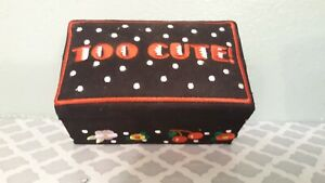 Mary-Engelbreit-Fabric-Keepsake-Box-Trinket-Too-Cute-Black-Embroidered