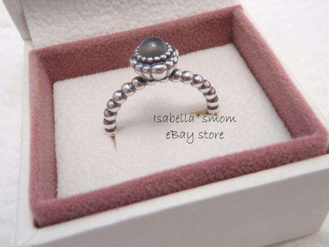 ada9708f8 Authentic PANDORA June Grey Moonstone Birthday Blooms Ring Size 50 (5)  190854msg
