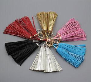 Handmade-Double-Long-Leather-Tassel-Pendant-Key-Chain-Purse-Handbag-Accessories
