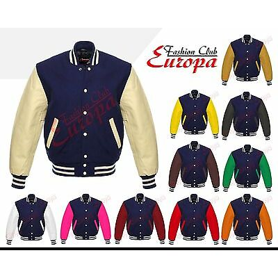 Quality Varsity Wool Jacket with Leather Sleeves XS TO 4XL in different colors