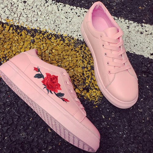 Women/'s Floral PU Leather Casual Lace Up Sneakers Sport Running Trainer Shoes
