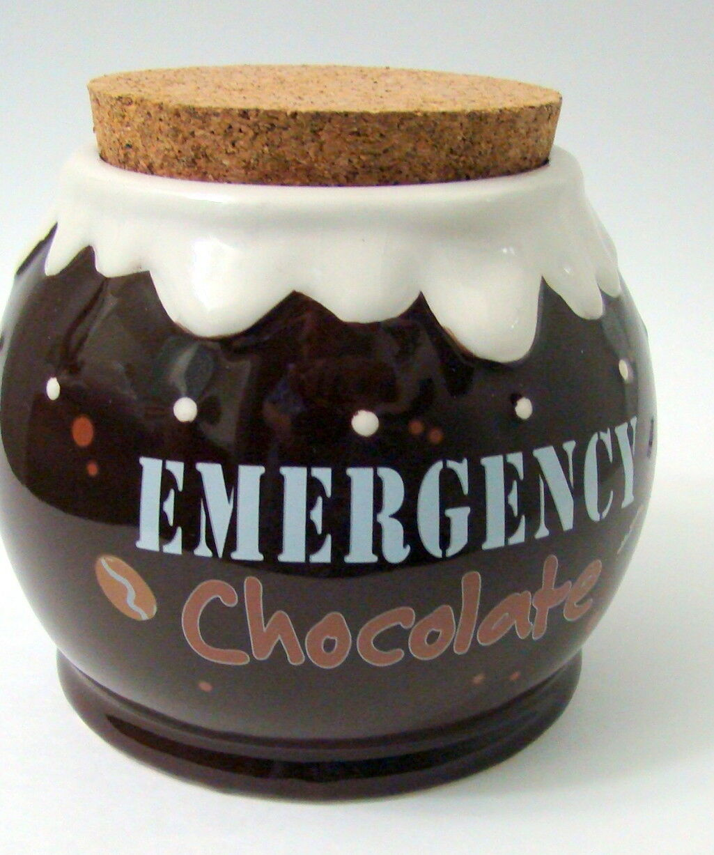 Emergency Chocolate Ceramic Pottery Round Jar Brown White Icing Rim Cork Stopper