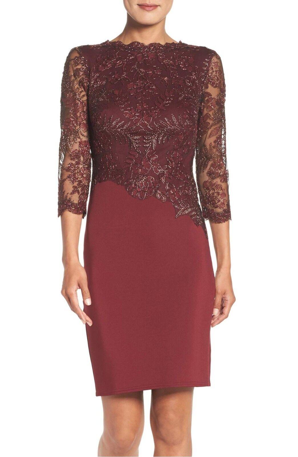 Newtadashi shoji lace sheath red dress size 2