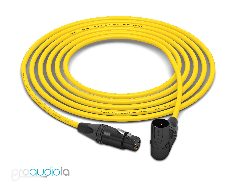Mogami 2534 Quad Cable   Neutrik Gold XLR-F to 90º XLR-M   Gelb 25 Feet 25'