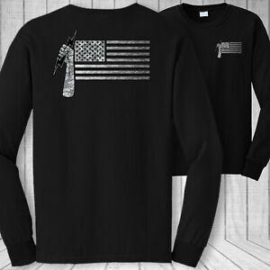 Elettricisti-Bandiera-Americana-Manica-Lunga-T-Shirt-USA-Elettrico-Lavoratore