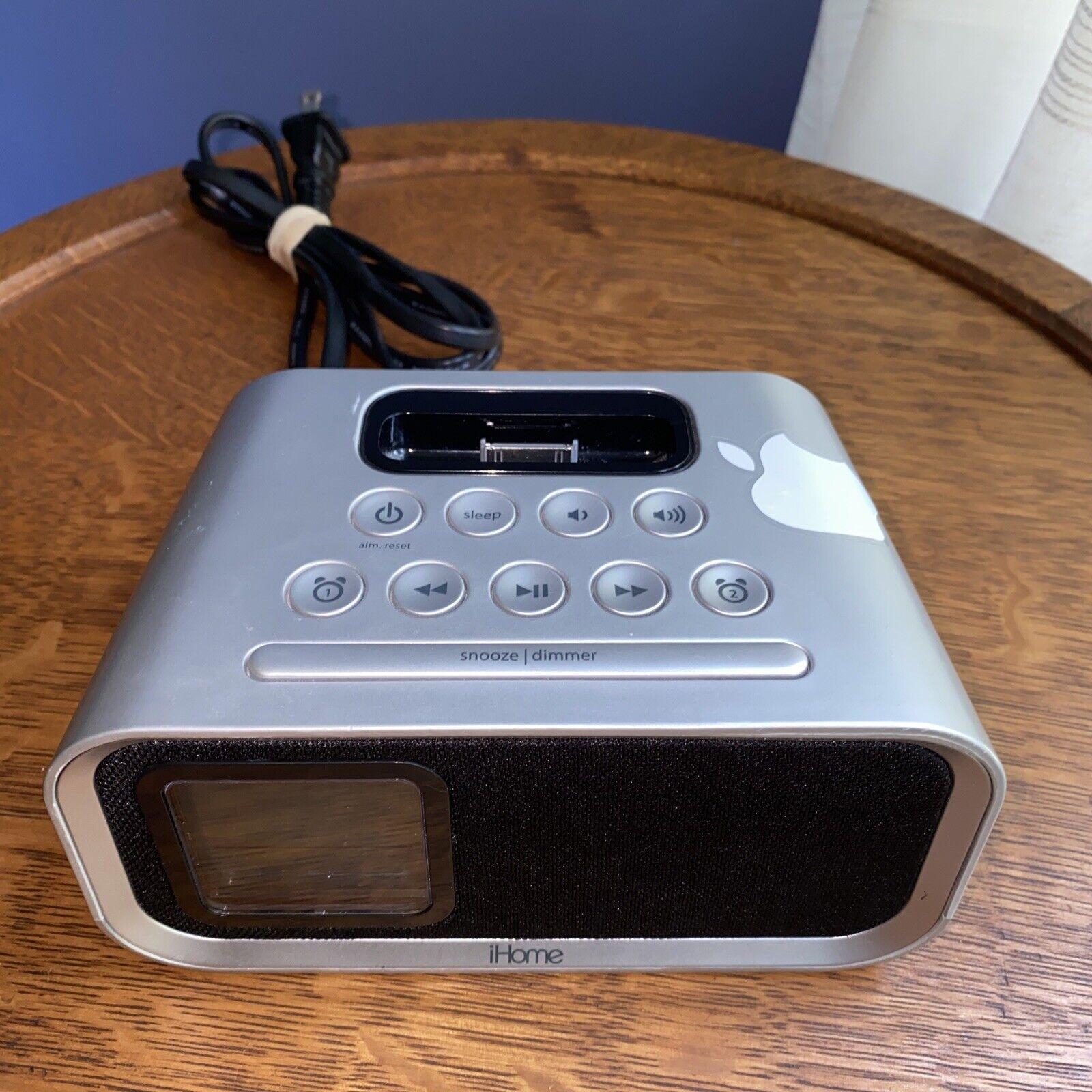 iHome iH22 Alarm Clock Charging Docking Station for iPod Silver/Black Working