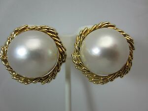 Details About Vintage 14k Yellow Gold 18 Mm Mabe Pearl Earrings