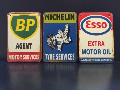ESSO MICHELIN BP Vintage Style METAL SIGN Garage Wall Decor 16x12Cm Set Of 3