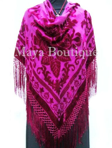 Fuchsia Silk Burnout Velvet Piano Shawl Wrap Fringed Scarf Maya Matazaro