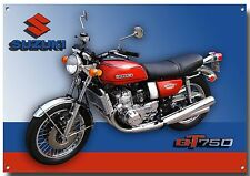 SUZUKI GT 750 CLASSIC MOTORCYCLE METAL SIGN (A3) SIZE.VINTAGE SUZUKI MOTORCYCLE.