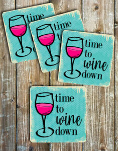 Wine-Coasters-Set-of-4-Non-Slip-Neoprene-Mother-039-s-Day-Gift-Ideas
