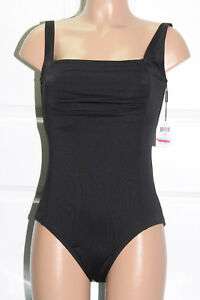 b8b02c7f61 NEW Calvin Klein Solid Shirred Front Black One piece Swimsuit Size ...
