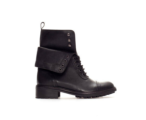 ZARA BLACK MILITARY LACE-UP ANKLE BOOT BOOTIE UK SIZES 3 & 8 NEU TAGS